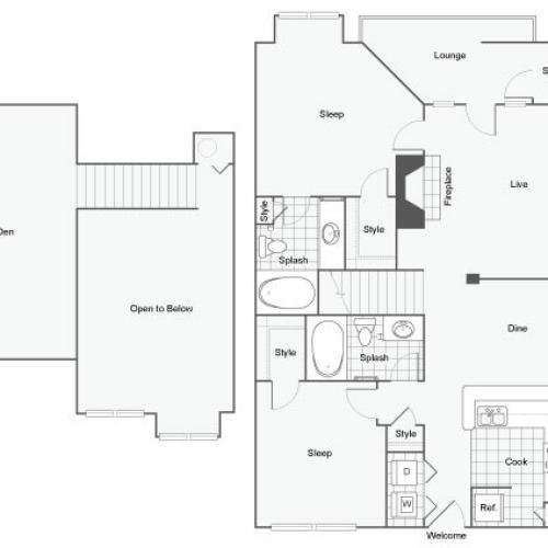 Floor Plan 7 | 2 Bedroom Apartments For Rent In Atlanta GA | Arrive Perimeter