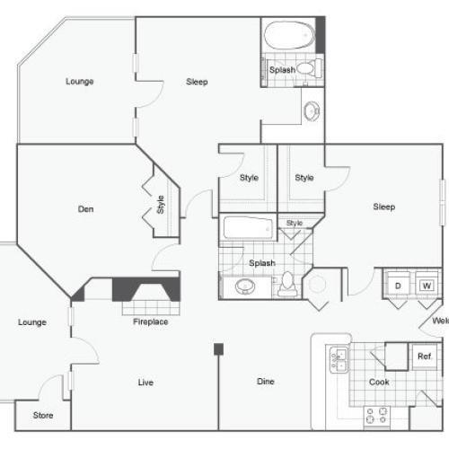 Floor Plan 8 | Apartments For Rent Near Atlanta | Arrive Perimeter