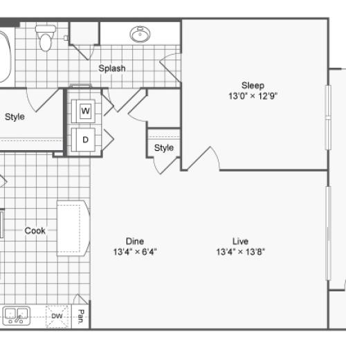 Floor Plan 6 | Luxury Apartments In Brookhaven GA | The Mille Brookhaven Apartment Homes