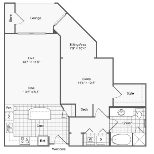 Floor Plan 8 | Brookhaven Apartments Atlanta GA | The Mille Brookhaven Apartment Homes
