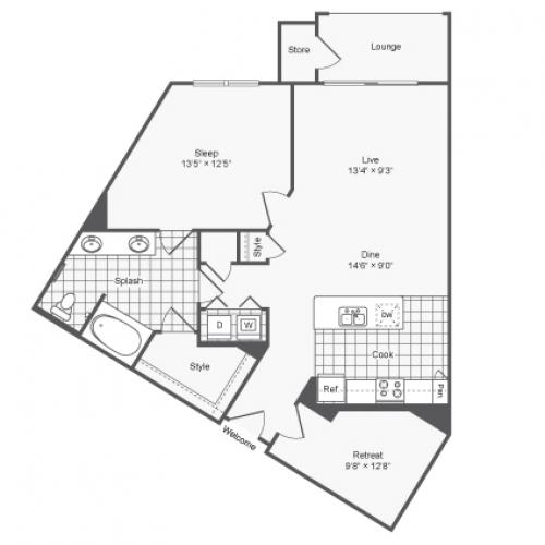 Floor Plan 10 | Brookhaven Apartments For Rent | The Mille Brookhaven Apartment Homes