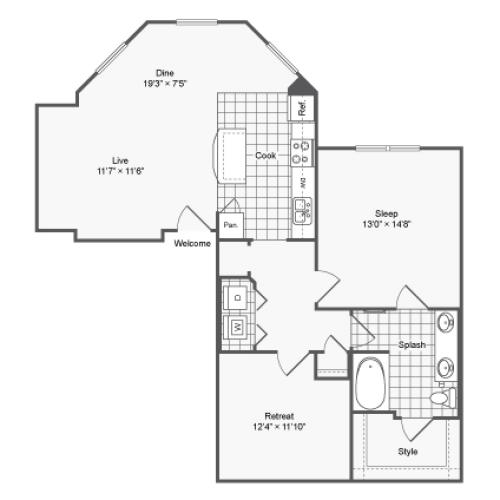 Floor Plan 11 | Luxury Apartments In Brookhaven GA | The Mille Brookhaven Apartment Homes