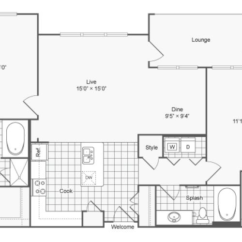 Floor Plan 22 | Apartments For Rent In Brookhaven GA | The Mille Brookhaven Apartment Homes