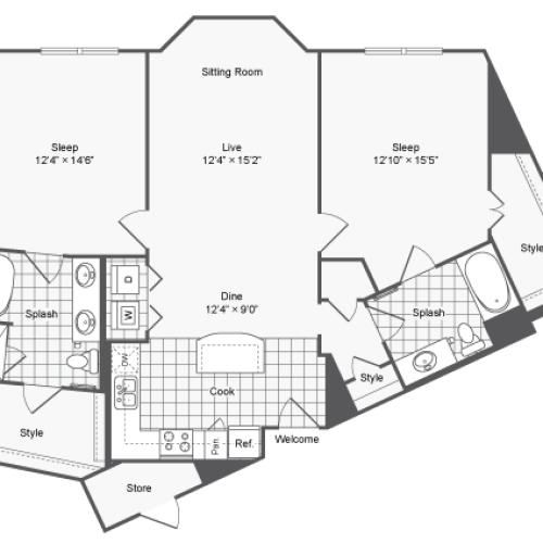 Floor Plan 23 | Brookhaven Apartments Atlanta GA | The Mille Brookhaven Apartment Homes