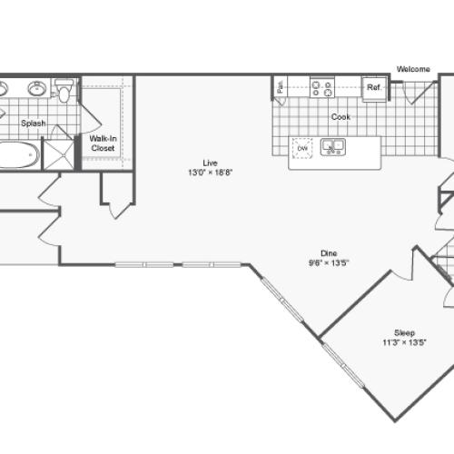 Floor Plan 25 | Brookhaven Apartments For Rent | The Mille Brookhaven Apartment Homes