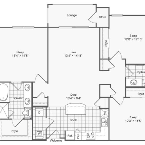 Floor Plan 31 | Luxury Apartments In Brookhaven GA | The Mille Brookhaven Apartment Homes