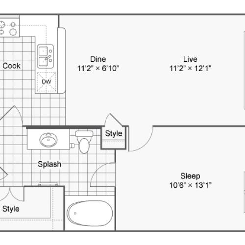 Floor Plan 1 | Luxury Apartments In Brookhaven GA | TwentyNine24 Brookhaven