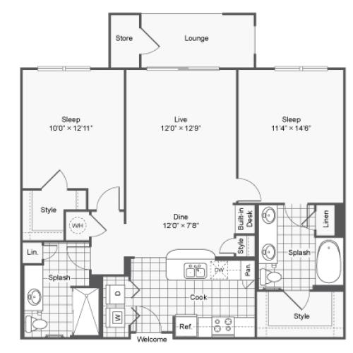 Floor Plan 6 | Luxury Apartments In Brookhaven GA | TwentyNine24 Brookhaven
