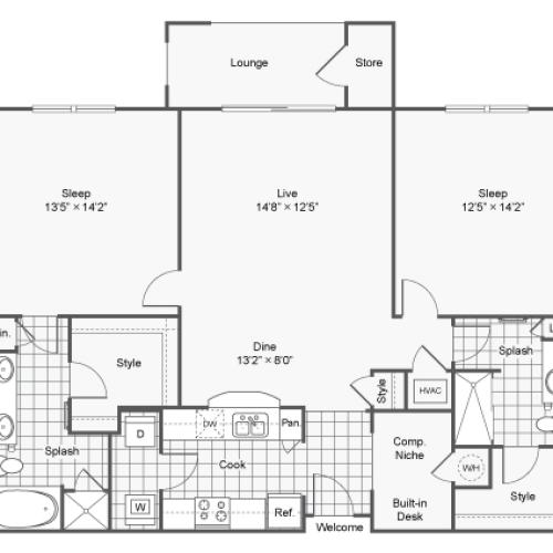 Floor Plan 8 | Apartments In North Atlanta | TwentyNine24 Brookhaven