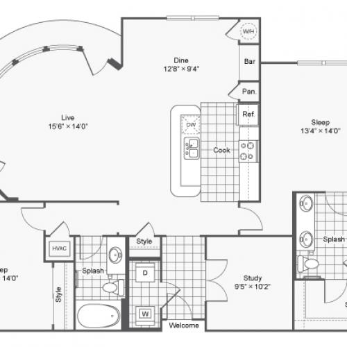Floor Plan 9 | Apartments Brookhaven GA | TwentyNine24 Brookhaven