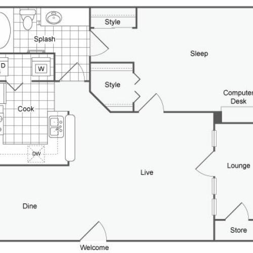 1 Bedroom Floor Plan   Luxury Apartments For Rent In Dallas TX   Arrive on University