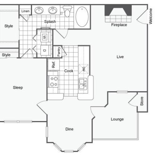 1 Bdrm Floor Plan | 1 Bedroom Apartments In Dallas TX | Arrive on University