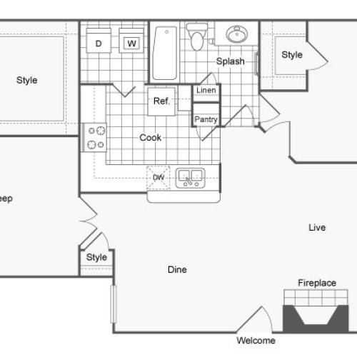 2 Bdrm Floor Plan | Pet Friendly Apartments In Dallas TX | Arrive on University
