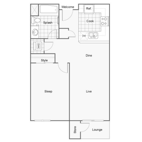Floor Plan 1 | San Diego Apartments | Arrive Mission Valley