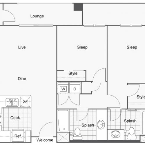 Floor Plan 7 | Two Bedroom Apartments San Diego | Arrive Mission Valley