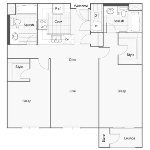 Floor Plan 11 | San Diego Apartments | Arrive Mission Valley