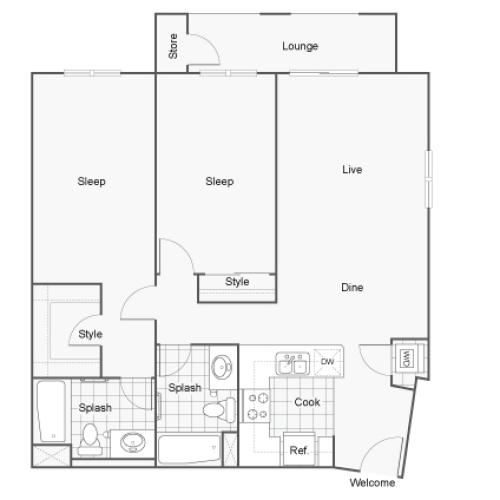 Floor Plan 12 | Two Bedroom Apartments San Diego | Arrive Mission Valley