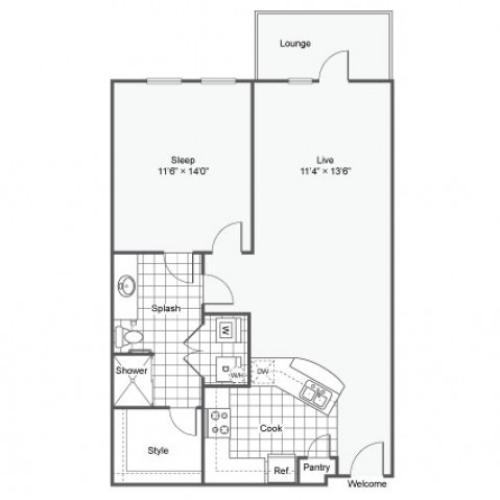 Floor Plan 3 | Downtown Dallas Apartments | Arrive West End