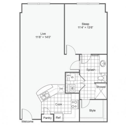 Floor Plan 4 | Dallas Texas Apartments Downtown | Arrive West End