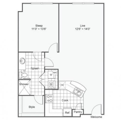 Floor Plan 8 | Downtown Dallas Apartments | Arrive West End