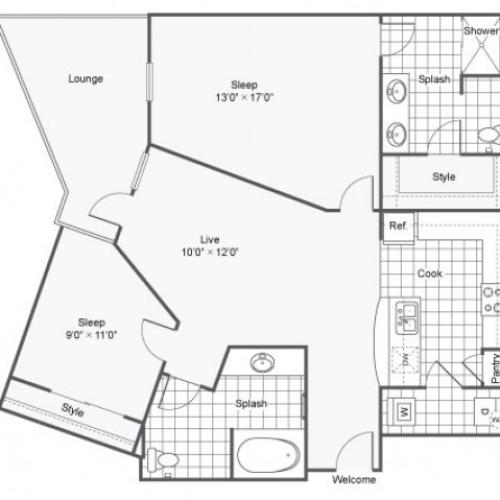 Floor Plan 14 | Dallas Texas Apartments Downtown | Arrive West End