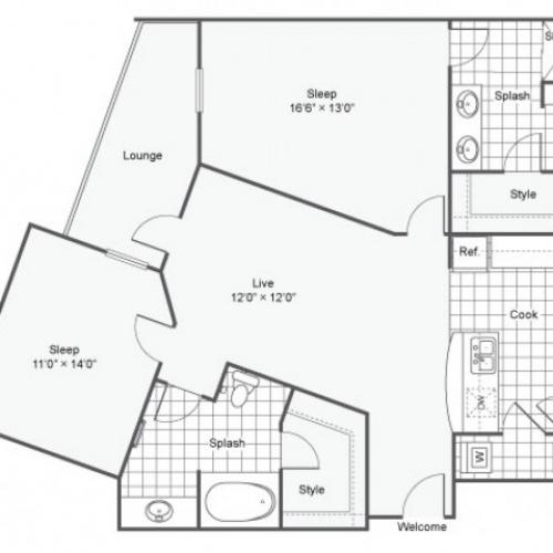 Floor Plan 16 | Luxury Downtown Dallas Apartments | Arrive West End