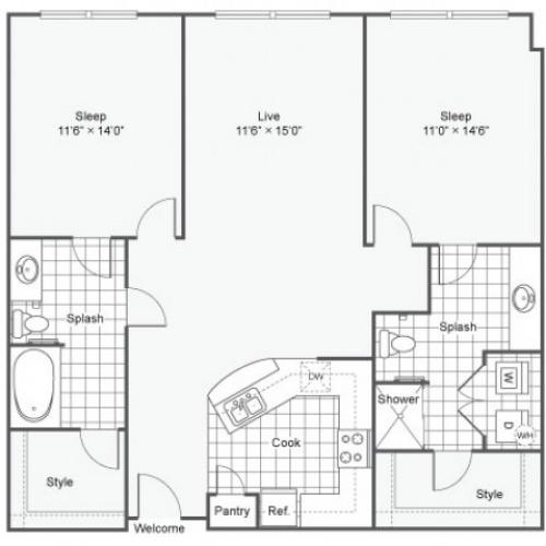 Floor Plan 19 | Dallas Texas Apartments Downtown | Arrive West End