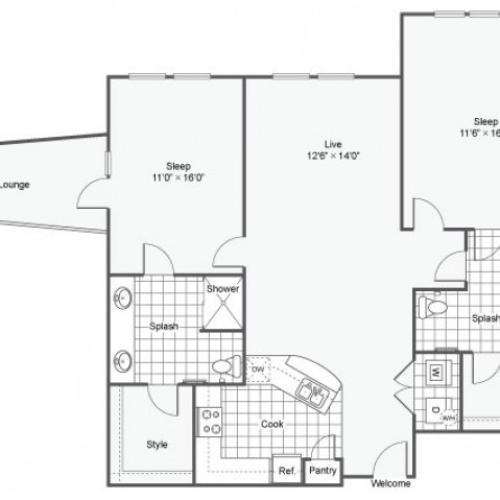 Floor Plan 20 | Dallas TX Luxury Apartments | Arrive West End