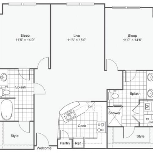 Floor Plan 21 | Luxury Downtown Dallas Apartments | Arrive West End