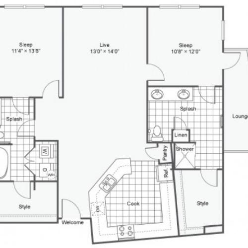 Floor Plan 22 | Apartments Downtown Dallas TX | Arrive West End