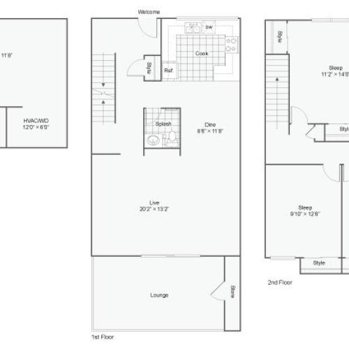 Haven on the Lake Apartment Homes for Rent in Maryland MO 63043 Floor Plan