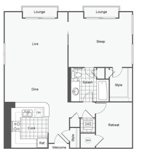 1 Bedroom Floor Plan | Student Apartments Atlanta | Dwell ATL
