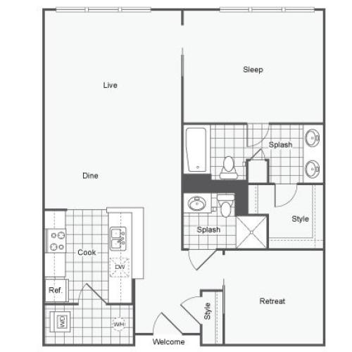 1 Bdrm Floor Plan | Apartments Near GSU | Dwell ATL