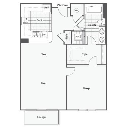 Floor Plan 2 | Apartments Near GSU | Dwell ATL
