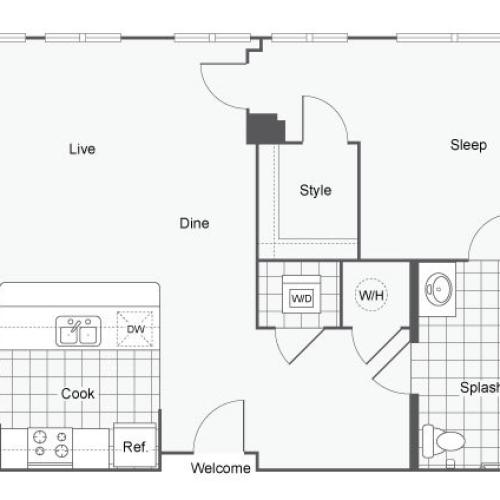 Floor Plan 5 | Atlanta Student Apartments | Dwell ATL