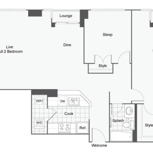 Floor Plan 33 | GSU Apartments | Dwell ATL