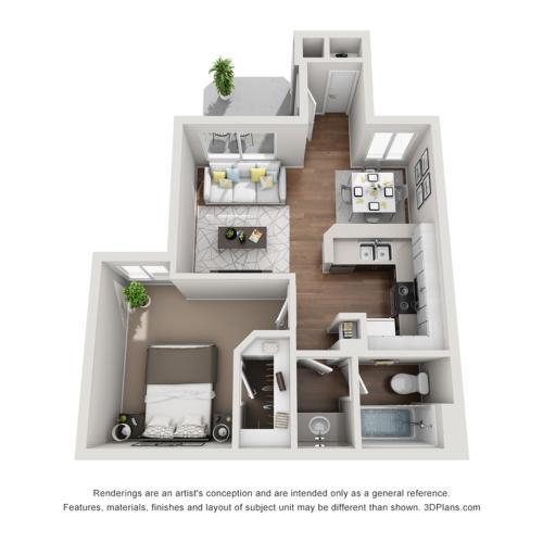 Renew at The Shops | One Bedroom Floorplan 1