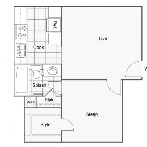 Floor Plan 1 | Port Orchard Washington Apartments | The Clubhouse at Port Orchard