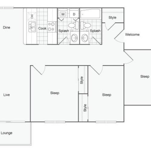 Floor Plan 9 | Port Orchard Apartments | The Clubhouse at Port Orchard