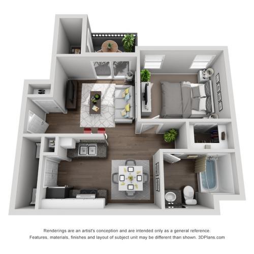 1 Bed 1 Bath A1 | Capella At Rancho Del Oro Apartments For Rent Oceanside CA 92057 Floor Plan