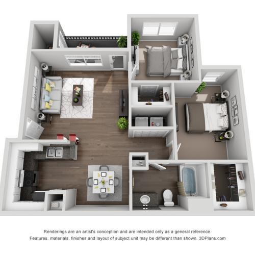 2 Bed 1 Bath B1 | Capella At Rancho Del Oro Apartments For Rent Oceanside CA 92057 Floor Plan