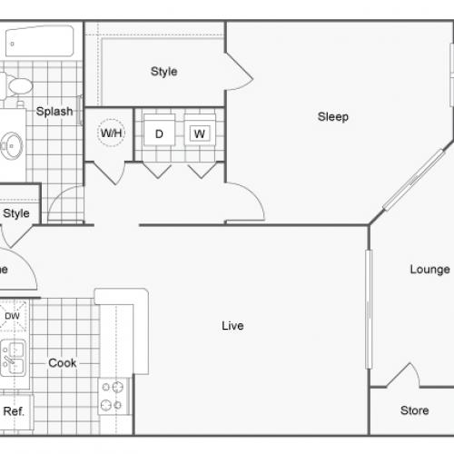 Floor Plan 1 | Luxury Apartments Dunwoody GA | 45Eighty Dunwoody Apartment Homes