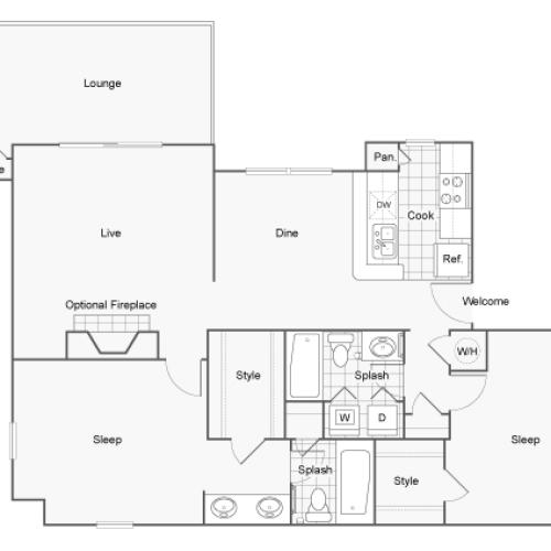 Floor Plan 6 | Luxury Apartments Dunwoody GA | 45Eighty Dunwoody Apartment Homes