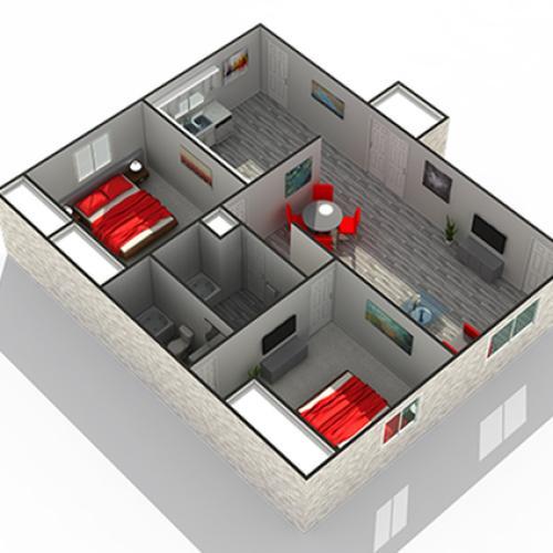 Floor Plan 5 | Clarendon Hills Apartments | The Clarendon Apartment Homes