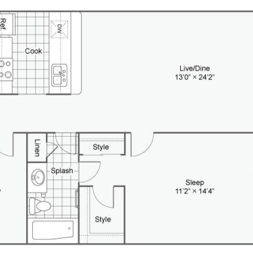 Floor Plan 2 | One Bedroom Apartments In Alexandria VA | Arrive Alexandria