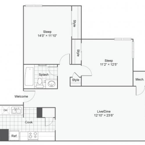 2 Bedroom Floor Plan | Apartments In Alexandria VA | Arrive Alexandria
