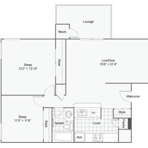 2 Bdrm Floor Plan | Luxury Apartments Alexandria VA | Arrive Alexandria