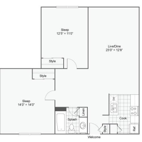 Floor Plan 3 | Apartments In Alexandria VA | Arrive Alexandria