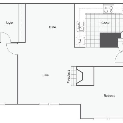 1 Bedroom Floor Plan | Luxury Apartments Sandy Springs GA | ReNew Sandy Springs