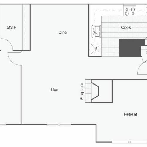 1 Bedroom Floor Plan | Luxury Apartments Sandy Springs GA | ReNew Sandy Springs